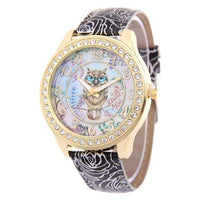 Crystal Studded Water Color Owl Leather Watch Black Watch