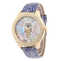 Crystal Studded Water Color Owl Leather Watch Blue Watch