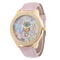 Crystal Studded Water Color Owl Leather Watch Pink Watch