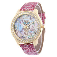 Crystal Studded Water Color Owl Leather Watch Rose Watch