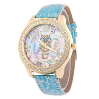 Crystal Studded Water Color Owl Leather Watch Sky Blue Watch