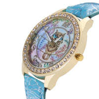 Crystal Studded Water Color Owl Leather Watch Watch
