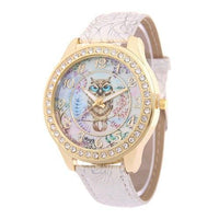 Crystal Studded Water Color Owl Leather Watch White Watch