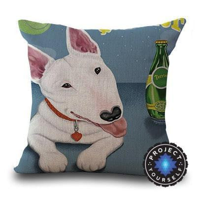 Cute Bull Terrier Printed Cushion Covers Blue 1 / 45cm x 45cm Decoration
