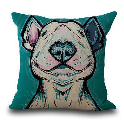 Cute Bull Terrier Printed Cushion Covers Blue 2 / 45cm x 45cm Decoration