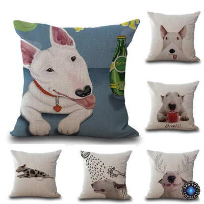 Cute Bull Terrier Printed Cushion Covers Decoration