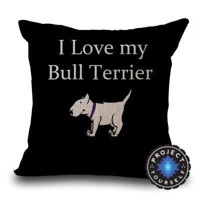 Cute Bull Terrier Printed Cushion Covers Love - Black / 45cm x 45cm Decoration