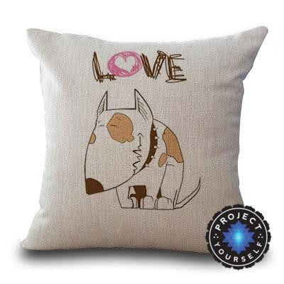 Cute Bull Terrier Printed Cushion Covers Love - White / 45cm x 45cm Decoration