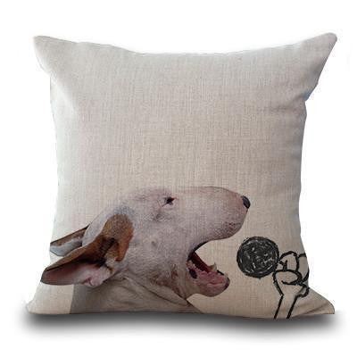 Cute Bull Terrier Printed Cushion Covers Microphone / 45cm x 45cm Decoration