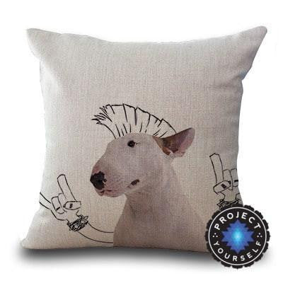 Cute Bull Terrier Printed Cushion Covers Mohawk / 45cm x 45cm Decoration