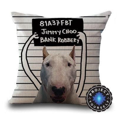 Cute Bull Terrier Printed Cushion Covers Mugshot / 45cm x 45cm Decoration