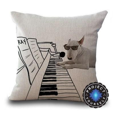 Cute Bull Terrier Printed Cushion Covers Piano / 45cm x 45cm Decoration