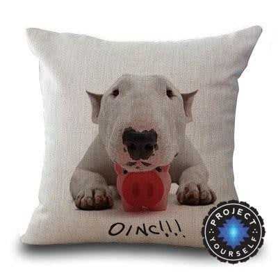 Cute Bull Terrier Printed Cushion Covers Piglet / 45cm x 45cm Decoration
