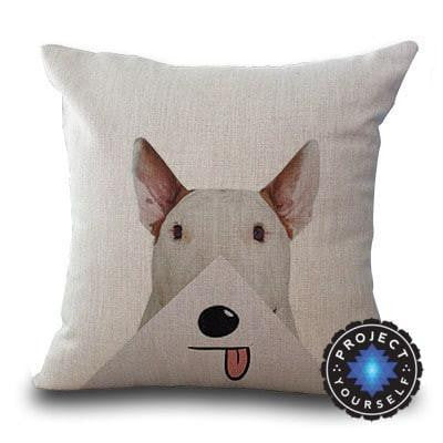 Cute Bull Terrier Printed Cushion Covers Pyramid / 45cm x 45cm Decoration