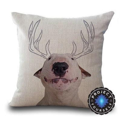 Cute Bull Terrier Printed Cushion Covers Reindeer / 45cm x 45cm Decoration