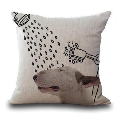 Cute Bull Terrier Printed Cushion Covers Shower / 45cm x 45cm Decoration