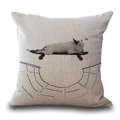 Cute Bull Terrier Printed Cushion Covers Skateboard / 45cm x 45cm Decoration