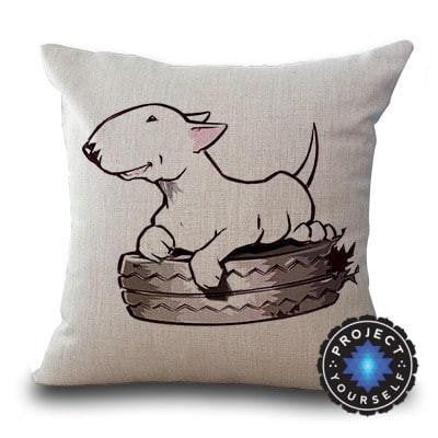 Cute Bull Terrier Printed Cushion Covers Tire / 45cm x 45cm Decoration