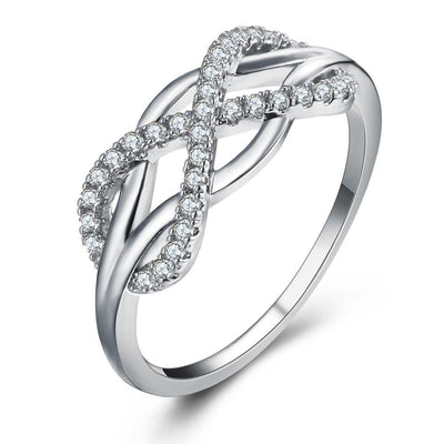 Dazzling Crystal Infinity Ring 6 / Silver Rings