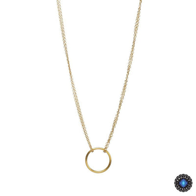 Double Chain Karma Circle Pendant Necklace Gold / No Card Necklace