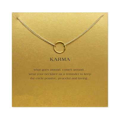 Double chain karma circle pendant necklace project yourself double chain karma circle pendant necklace gold with card necklace aloadofball Image collections