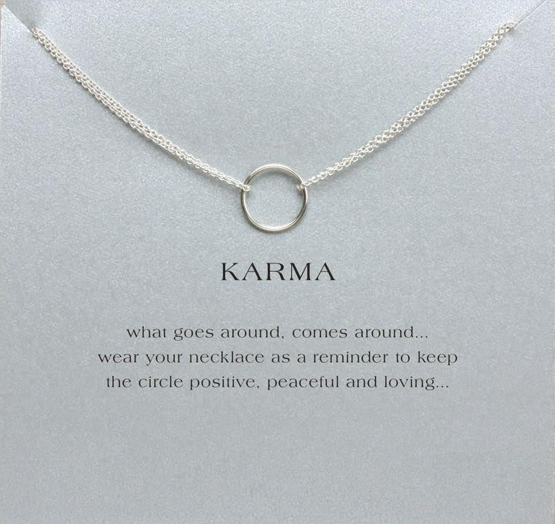 Double chain karma circle pendant necklace project yourself double chain karma circle pendant necklace silver with card necklace aloadofball Images