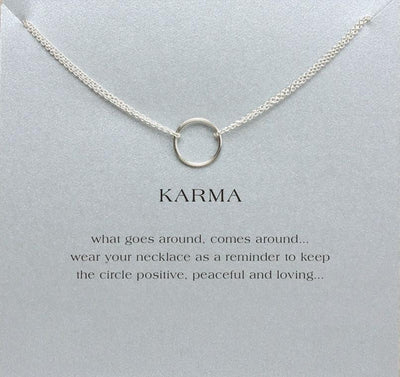 Double Chain Karma Circle Pendant Necklace Silver / With Card Necklace