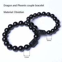 Dragon and Phoenix Black Obsidian Bracelet Bracelet