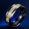 Dragon Titanium Ring Black and Gold / 6.5 Rings