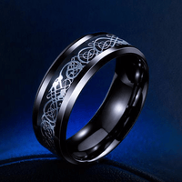 Dragon Titanium Ring Black and Silver / 6.5 Rings
