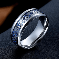 Dragon Titanium Ring Silver and Blue / 6.5 Rings