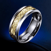 Dragon Titanium Ring Silver and Gold / 6.5 Rings