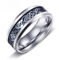 Dragon Titanium Ring Silver and Silver / 6.5 Rings