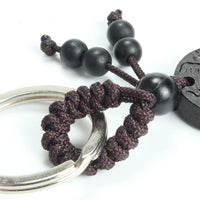 Ebony Wood Smiling Buddha Key Ring Keychains