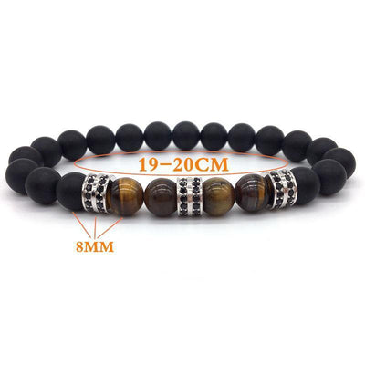 Elegant Hematite and Tiger Eye Crystal Paved Bracelet Bracelet