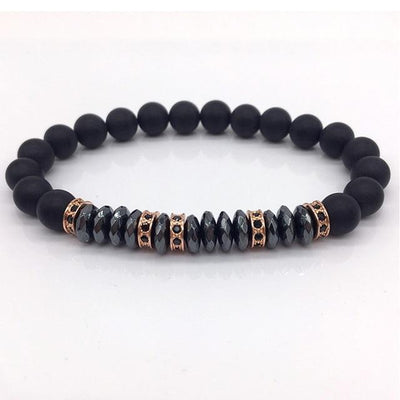 Elegant Hematite and Tiger Eye Crystal Paved Bracelet Hematite Rose Gold Bracelet