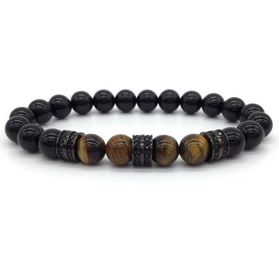 Elegant Hematite and Tiger Eye Crystal Paved Bracelet Tiger Eye Gloss Black Bracelet