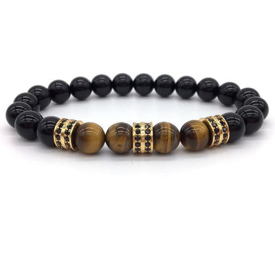 Elegant Hematite and Tiger Eye Crystal Paved Bracelet Tiger Eye Gloss Gold Bracelet