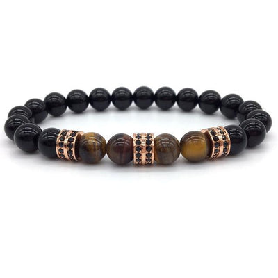 Elegant Hematite and Tiger Eye Crystal Paved Bracelet Tiger Eye Gloss Rose Gold Bracelet