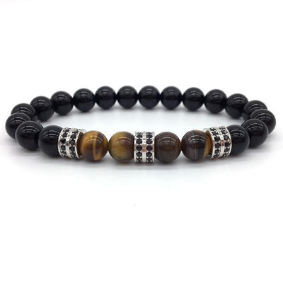 Elegant Hematite and Tiger Eye Crystal Paved Bracelet Tiger Eye Gloss Silver Bracelet