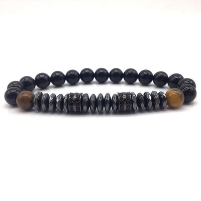 Elegant Hematite and Tiger Eye Crystal Paved Bracelet Tiger Eye-Hematite Black Bracelet