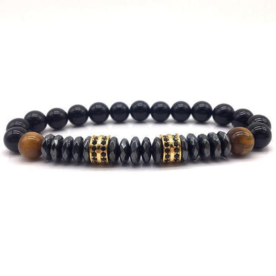 Elegant Hematite and Tiger Eye Crystal Paved Bracelet Tiger Eye-Hematite Gold Bracelet