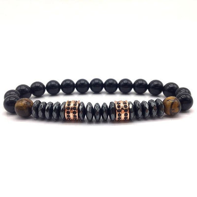 Elegant Hematite and Tiger Eye Crystal Paved Bracelet Tiger Eye-Hematite Rose Gold Bracelet
