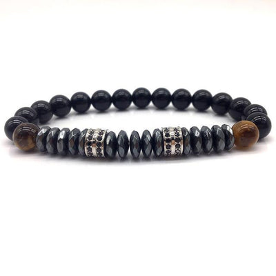 Elegant Hematite and Tiger Eye Crystal Paved Bracelet Tiger Eye-Hematite Silver Bracelet