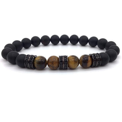 Elegant Hematite and Tiger Eye Crystal Paved Bracelet Tiger Eye Matte Black Bracelet