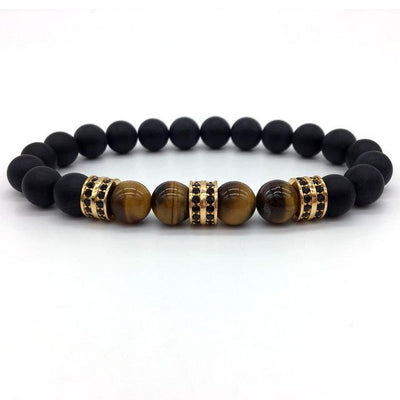 Elegant Hematite and Tiger Eye Crystal Paved Bracelet Tiger Eye Matte Gold Bracelet