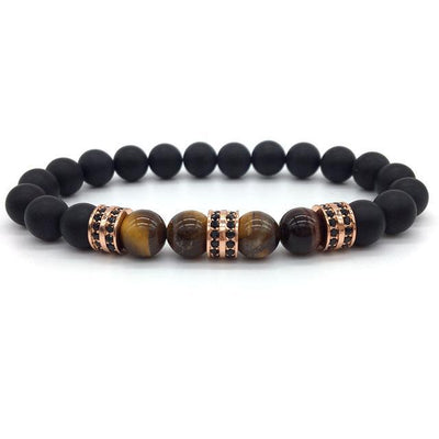 Elegant Hematite and Tiger Eye Crystal Paved Bracelet Tiger Eye Matte Rose Gold Bracelet