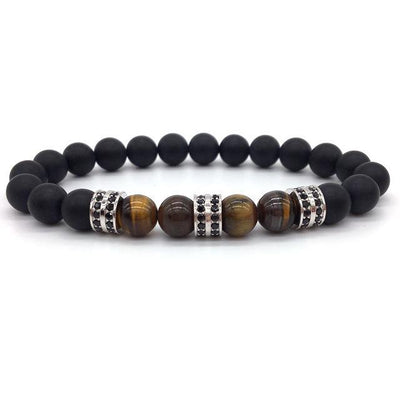 Elegant Hematite and Tiger Eye Crystal Paved Bracelet Tiger Eye Matte Silver Bracelet