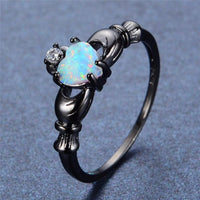 Elegant Rainbow Opal Heart Black Gold Filled Solitaire Ring 10 Rings