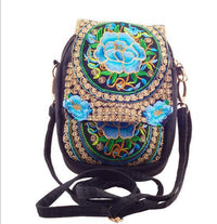 Embroidered Floral Boho Purse Blue 2 Bags